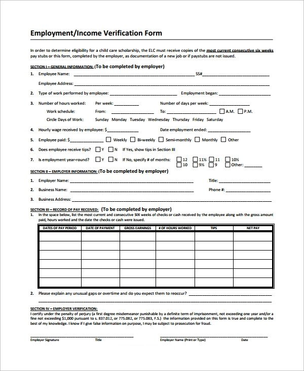 Employment Verification forms Template Sample In E Verification form 9 Free Documents