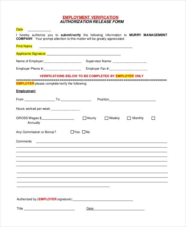 Employment Verification forms Template Sample Verification Of Employment form 10 Examples In