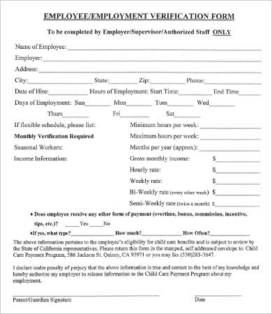 Employment Verification forms Template Verification Employment form 9 Free Word Pdf