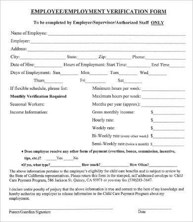 Employment Verification forms Template Verification Employment form 9 Free Word Pdf