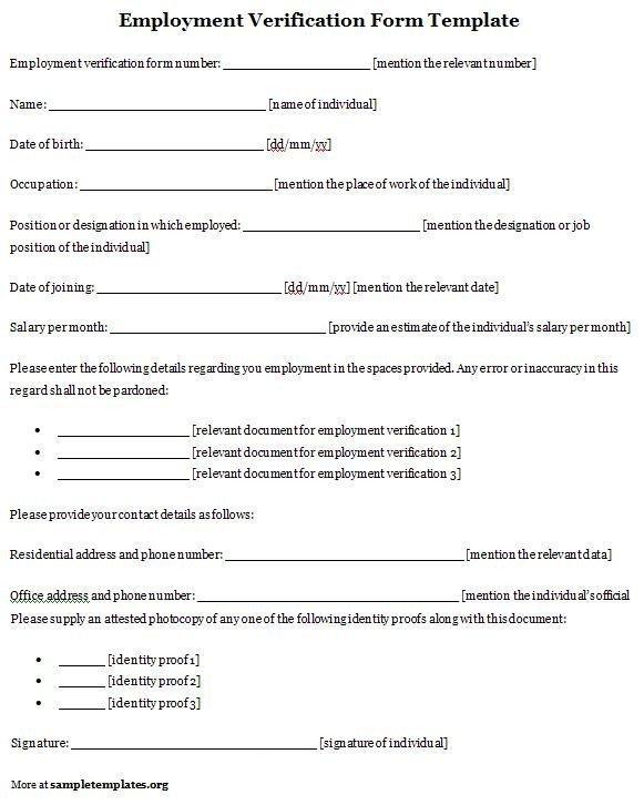 Employment Verification forms Template Verification Employment form Template