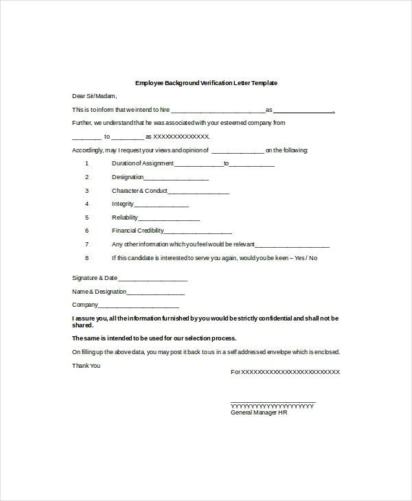 Employment Verification Letter Template Word 10 Sample Employment Verification Letters Pdf Word