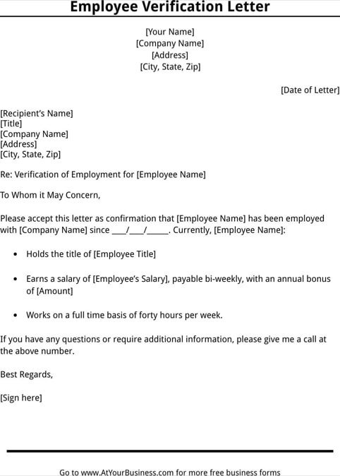 Employment Verification Letter Template Word 11 Employee Verification Letter Examples Pdf Word