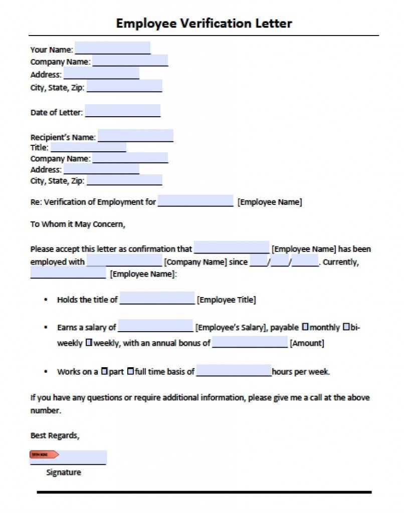 Employment Verification Letter Template Word Download Employment Verification Letter Template with