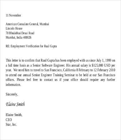 Employment Verification Letter Template Word Employee Verification Letter