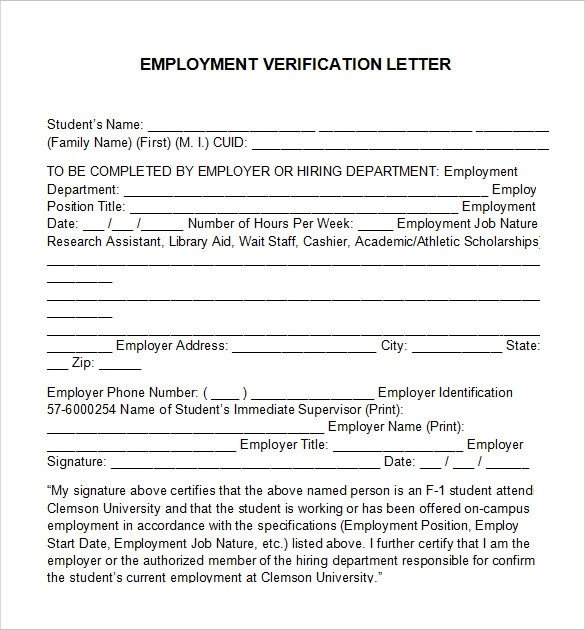 Employment Verification Letter Template Word Employment Verification Letter 14 Download Free