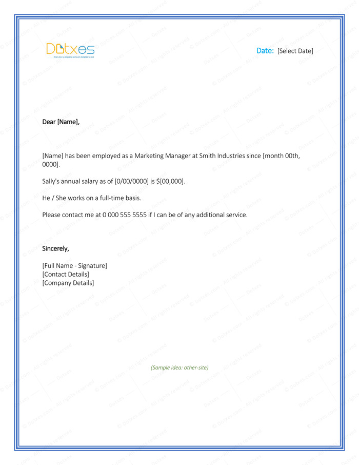 Employment Verification Letter Template Word Employment Verification Letter 4 Printable formats