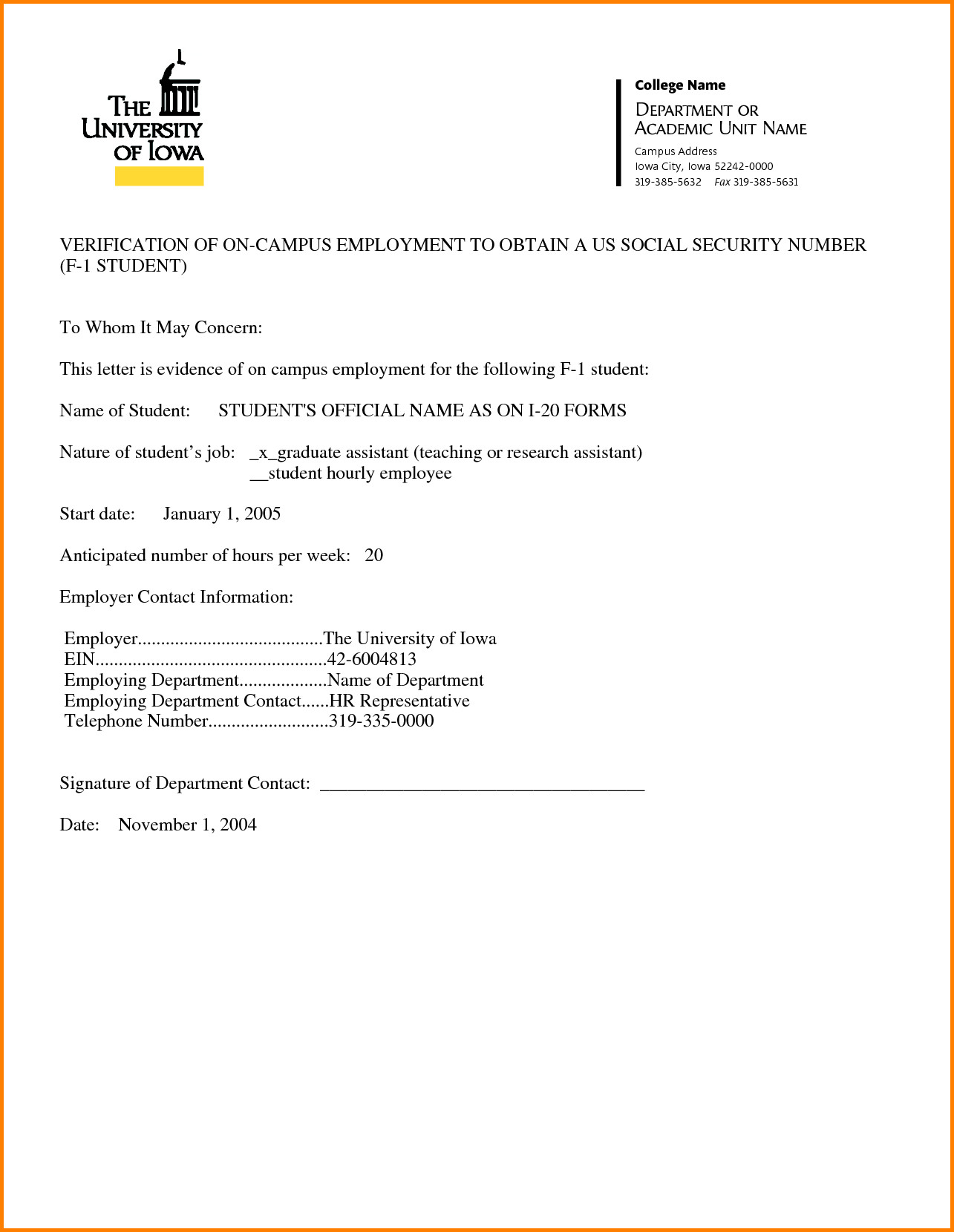 Employment Verification Letter Template Word Employment Verification Letter Template Word