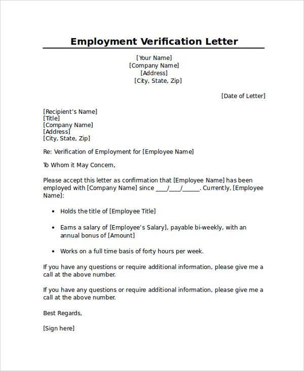 Employment Verification Letter Template Word Proper Sle Employment Verification Letter Letter