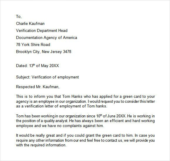 Employment Verification Letter Template Word Sample Proof Of Employment Letter 9 Download Free