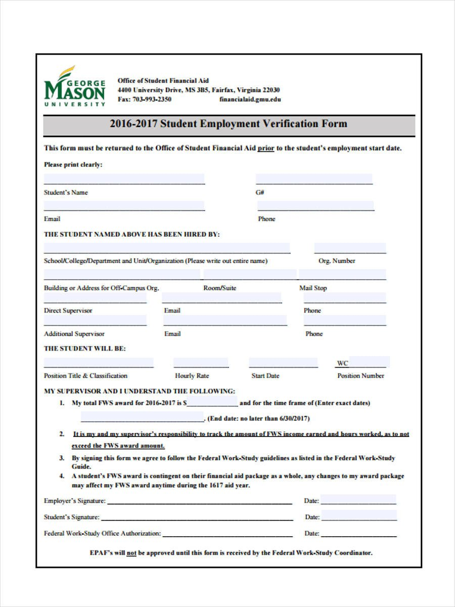 Employment Verification Request form 50 Sample Employee Request forms