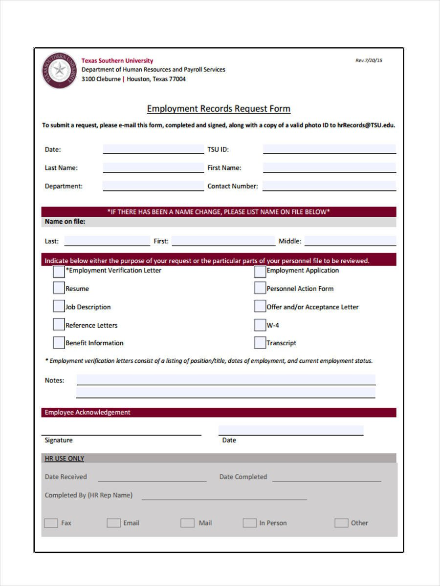 Employment Verification Request form 7 Employment Verification Request form Sample Free