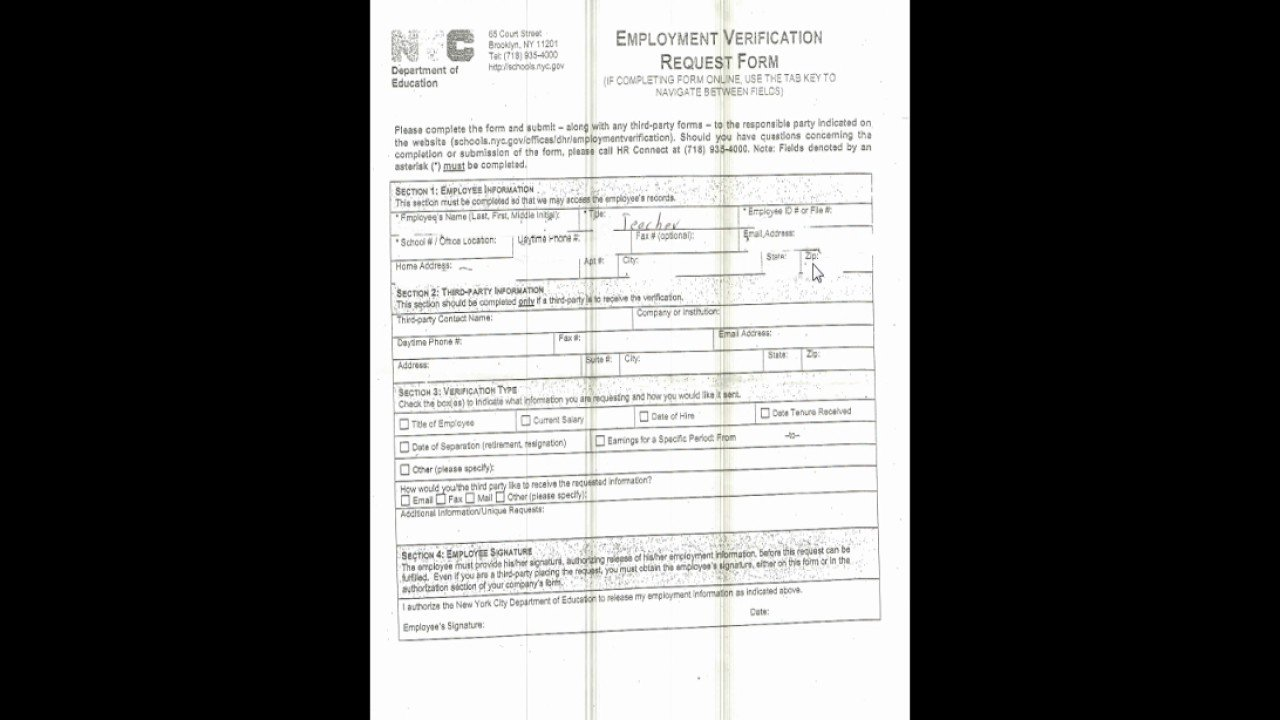 Employment Verification Request form Doe Employment Verification Request form