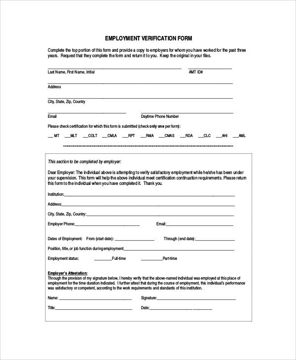 Employment Verification Request form Sample Employment Verification form 6 Documents In Pdf