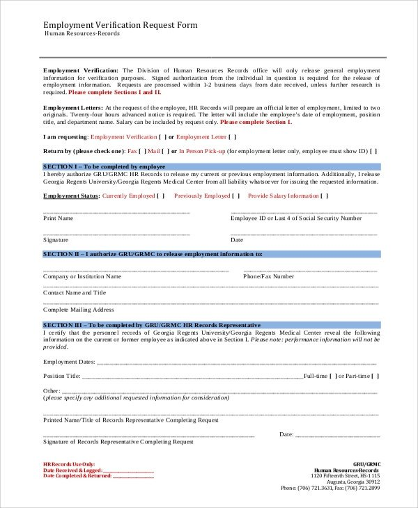 Employment Verification Request form Sample Employment Verification form 8 Examples In Word Pdf