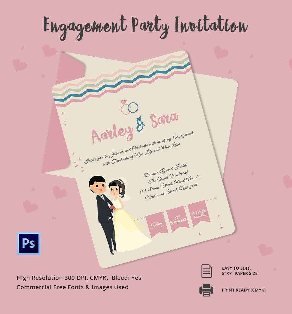 Engagement Party Invitations Templates Engagement Invitation Template 25 Free Psd Ai Vector
