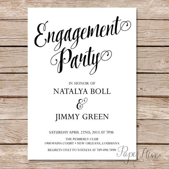 Engagement Party Invitations Templates Modern Calligraphy Engagement Party Invitation Calligraphy