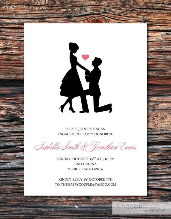 Engagement Party Invitations Templates Printable Diy Sweet Silhouette Proposal Engagement Party