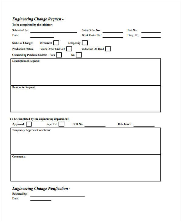 Engineering Change order Template Change form Template