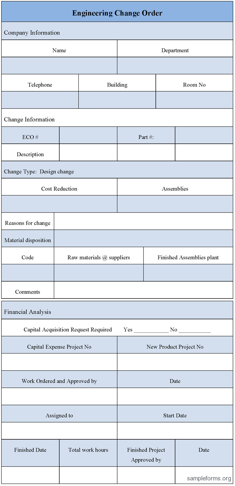 Engineering Change order Template Engineering Change order form Sample forms