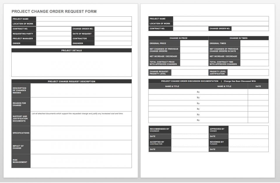 Engineering Change order Template Plete Collection Of Free Change order forms