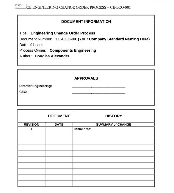 Engineering Change order Template Rolling Rota Template