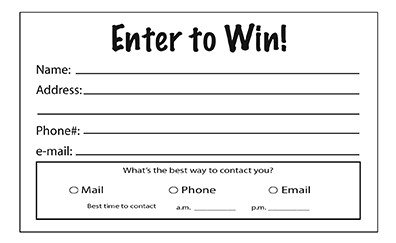 Entry form Template Word Enter to Win Pads