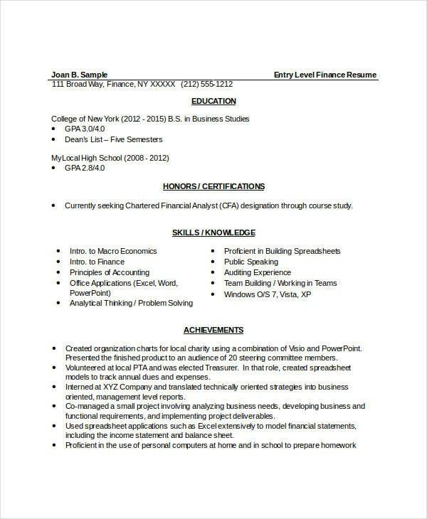 Entry Level Finance Resume 10 Finance Resume Templates Pdf Doc