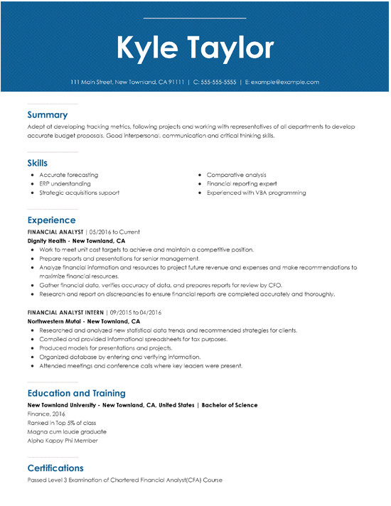 Entry Level Finance Resume 20 Best Resume Templates Of 2019