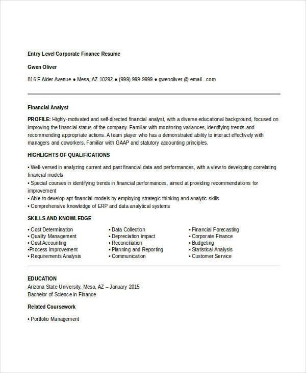 Entry Level Finance Resume 22 Best Finance Resume Templates Pdf Doc