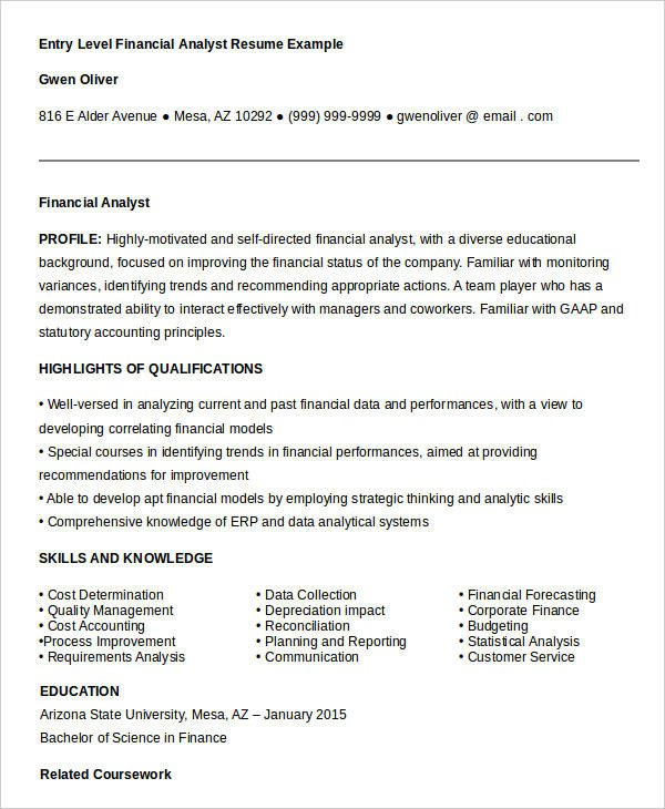 Entry Level Finance Resume 23 Finance Resume Templates Pdf Doc