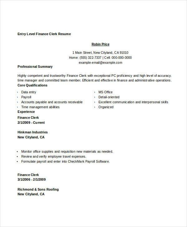 Entry Level Finance Resume Basic Finance Resume 44 Free Word Pdf Documents