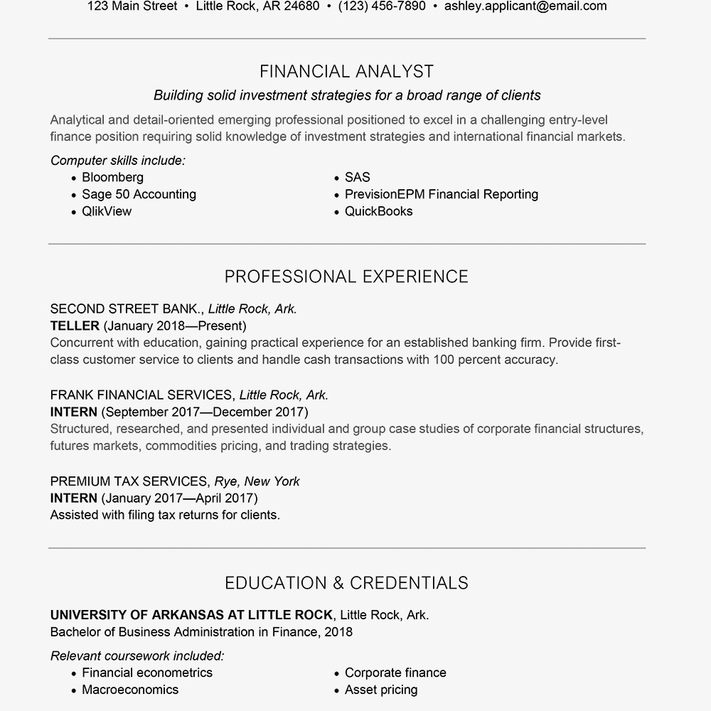Entry Level Finance Resume Entry Level Finance Cover Letter and Resume Samples