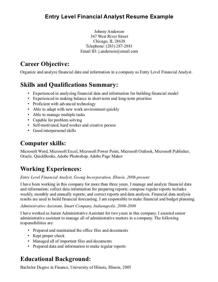 Entry Level Finance Resume Entry Level Financial Analyst Resume Example
