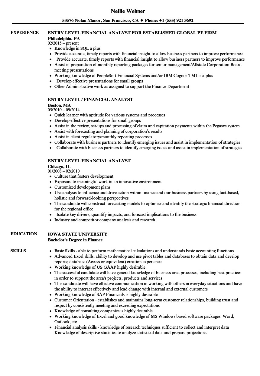 Entry Level Finance Resume Entry Level Financial Analyst Resume Samples