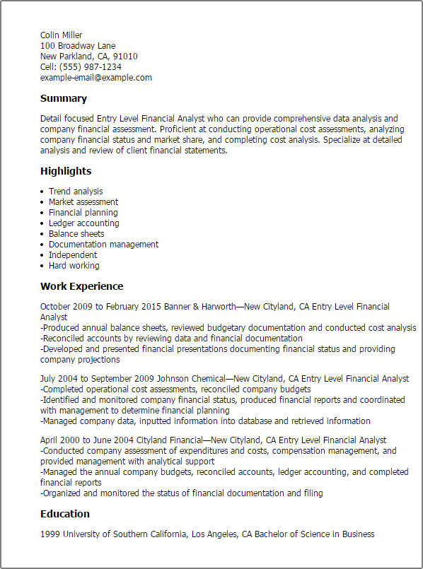 Entry Level Finance Resume Entry Level Financial Analyst Resume Template — Best