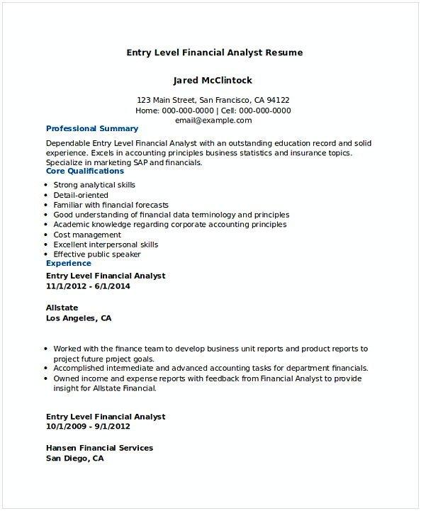 Entry Level Finance Resume Financial Analyst Resume Sample