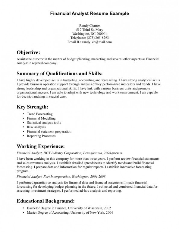 Entry Level Finance Resume Resume for Entry Level Financial Analyst