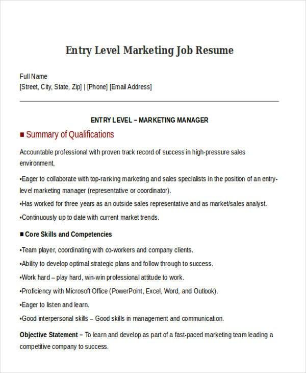 Entry Level Marketing Resume 30 Simple Marketing Resume Templates Pdf Doc