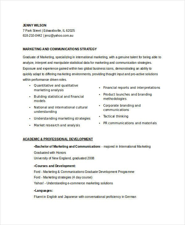 Entry Level Marketing Resume 45 Marketing Resume Templates Pdf Doc
