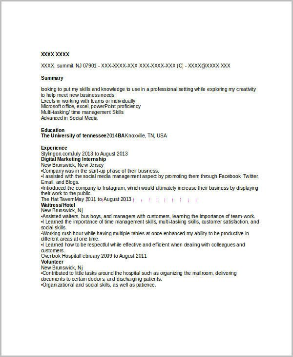 Entry Level Marketing Resume 45 Marketing Resume Templates Pdf Doc