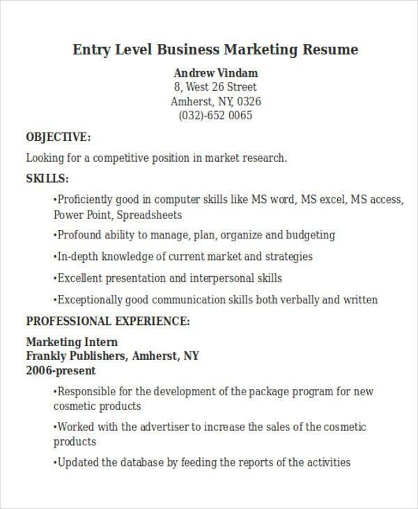 Entry Level Marketing Resume 50 Business Resume Templates Pdf Doc