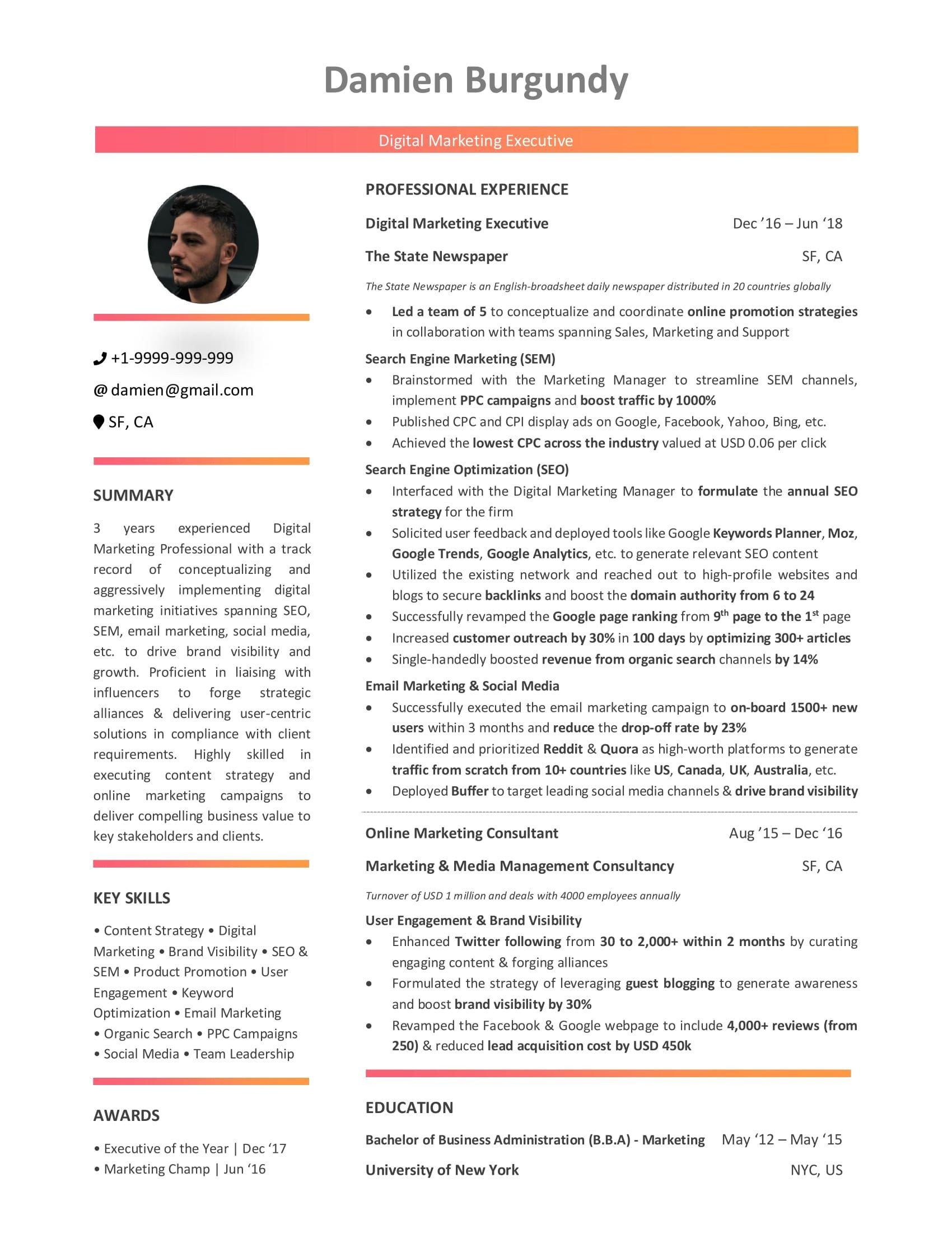 Entry Level Marketing Resume Digital Marketing Resume 10 Step Beginner S Guide [with