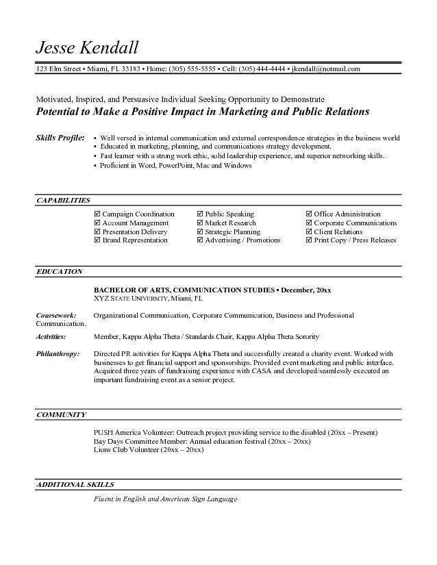 Entry Level Marketing Resume Entry Level Marketing Resume Objective