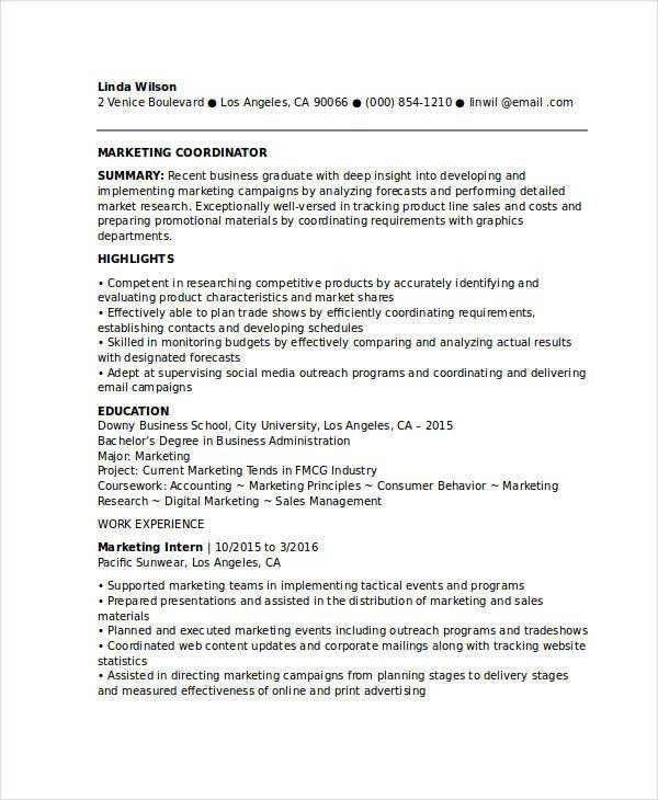 Entry Level Marketing Resume Marketing Resume Samples for Successful Job Hunters