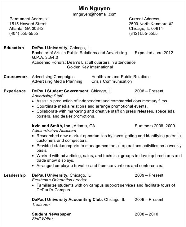 Entry Level Resume Template 10 Entry Level Administrative assistant Resume Templates