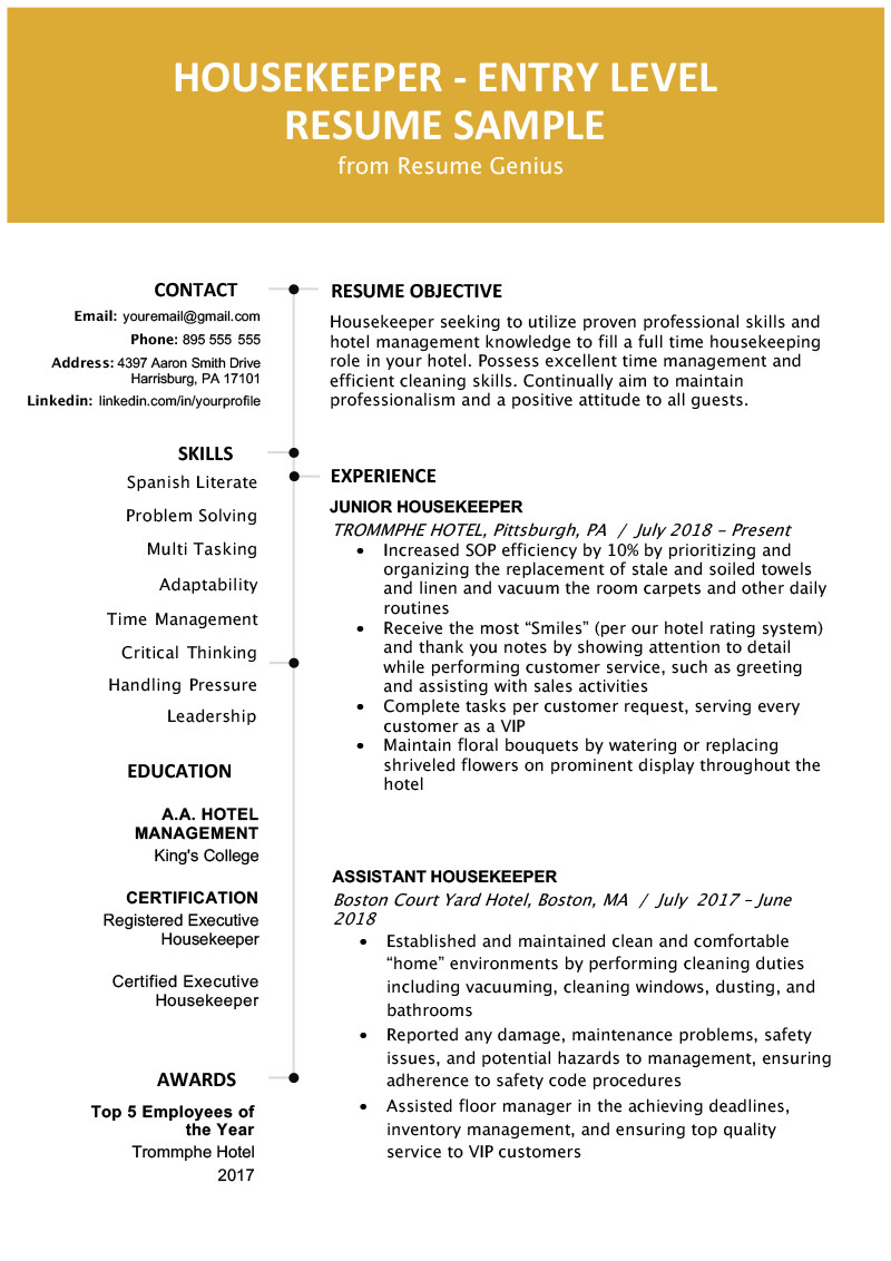Entry Level Resume Template Entry Level Hotel Housekeeper Resume Sample