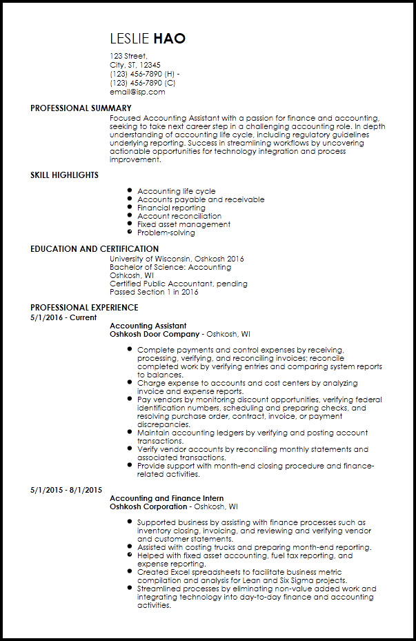 Entry Level Resume Template Free Entry Level Accounting & Finance Resume Templates