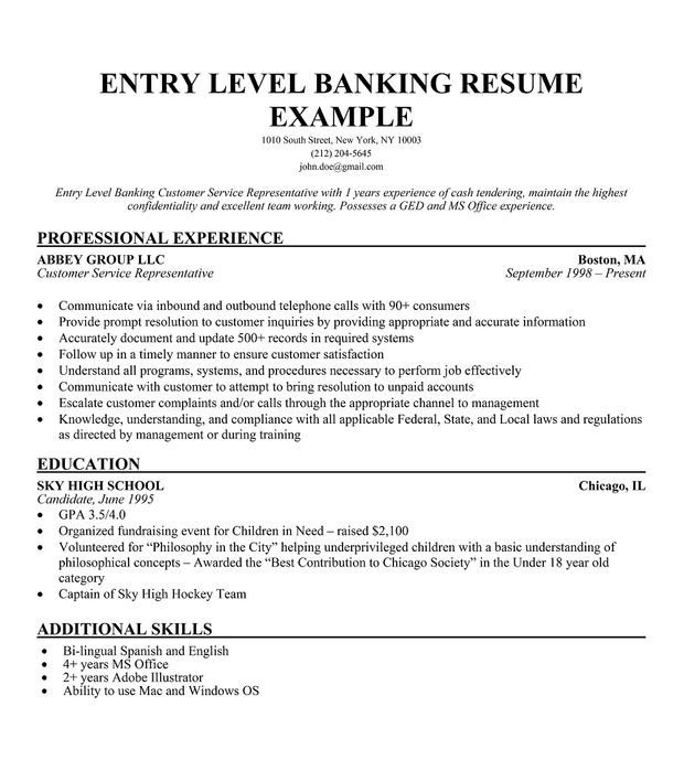 Entry Level Resume Template Sample Resume for Entry Level Bank Teller