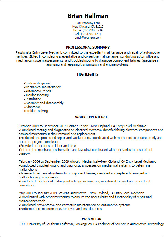 Entry Level Resume Templates Automotive Resume Templates to Impress Any Employer
